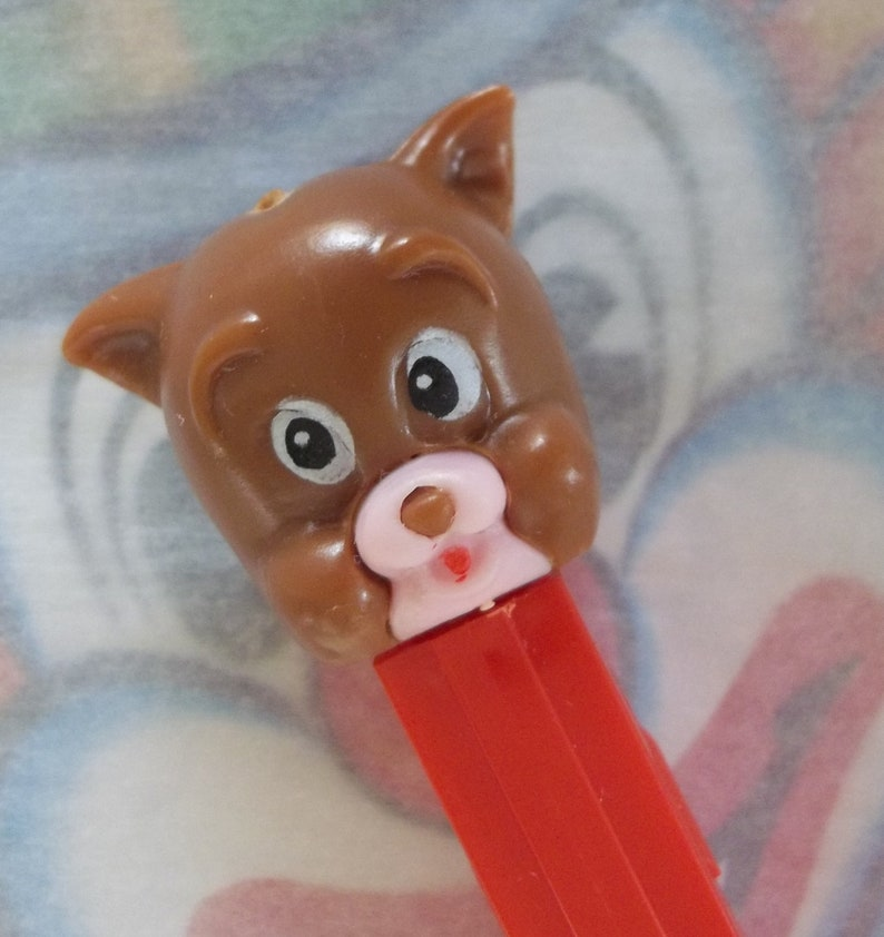 Vintage / Tyke PEZ Dispenser / MGM / Tom & Jerry Series / Foreign Issue /  3 9 Thin Feet Variation / Hard to Find / Pieced Face / Red Button