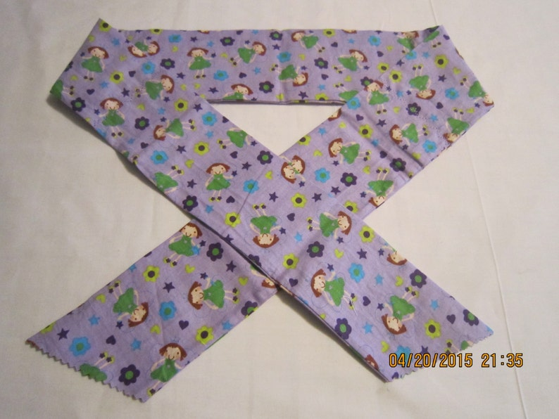 Kids Prints Girls Extra Wide 3 Reusable Non-Toxic Cool Wrap  Neck Cooler Fairies on Purple CLEARANCE