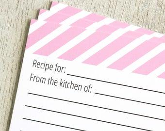 Pink Stripe Recipe Cards - Set of 25