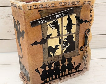 TOIL & TROUBLE Halloween Scrapbook Scrapbooking Chipboard Mini Album