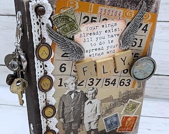 FLY AWAY Travel Vacation Adventure Junk Journal Planner Organizer Smash Book Scrapbook Mini Album  2 Ring Binder