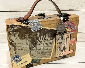 JOURNEY Adventure Travel Vacation Suitcase Album 2-ring Binder All Occasion Scrapbook Scrapbooking Altered Box Mixed Media