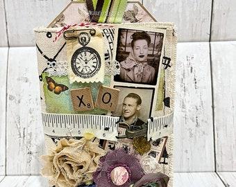 THROUGH TIME Fabric Mini Album Scrapbook Vintage Inspired  Junk Journal