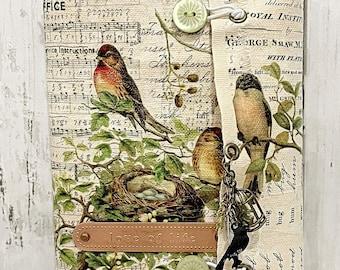 LOVE OF LIFE Fabric Mini Album Scrapbook Vintage Inspired  Junk Journal