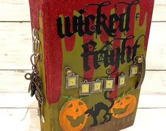 Vintage Hardcover OCTOBER DAILY 31 Countdown Halloween Junk Journal Planner Organizer Smash Book Scrapbook Mini Album  2 Ring Binder