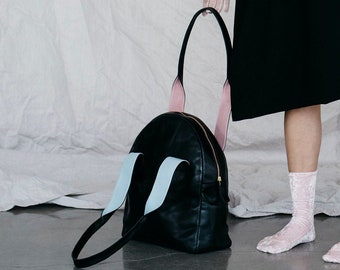 Large Black Leather Handbag Tote, Leather Shoulder Bag, Leather Bag, Leather Purse