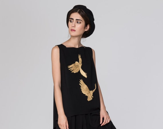 Embroidered Pinafore Simone Top. Black Structured Modern Jumper. Metallic Gold Embroidery Dress. Gold Foil Birds