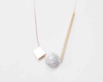Gold Plated Minimalist Necklace Marble Stone Jewelry Delicate Necklace Geometric Gold Necklace. Bar Necklace. Spheres and Cubes — 003
