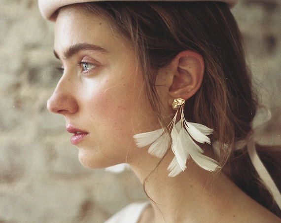 Statement Feather Earrings. White Gold Cloud Stud with Natural Feathers. Long White Dangle Feather Earring. Holiday Fashion HO17