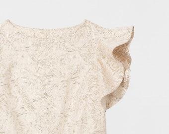 Ruffled Brocade Women Top. Boxy Shirt. Ruffled Sleeves Blouse. Metallic Gold Top. Women's Shirt. Sleeve Top. Nic top