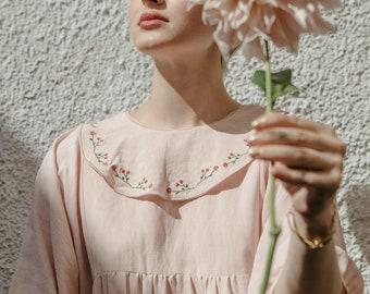 Puff Sleeves Pink Dress Embroidered Balloon Sleeves Voluminous Sleeves Embroidered Collar Dress Smock Dress Long Maxi Dress Market Dress