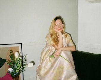 Handmade Dress Jacquard Rainbow Dress Smock Dress Long Midi Dress Pastel Dress Clothing Bridesmaid Miami Pastel Dress
