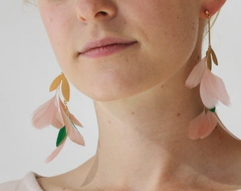 Feather Statement Earrings Plant Earrings Botanical Earrings Nature Inspired Gold Leaf Earrings Nature Jewelry Drop Down Earrings
