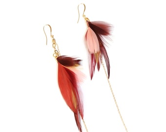 Burgundy Feather Earrings. Gold Delicate Earrings. Gold Dangle Feather Earrings. Feather Jewelry. Coral Feather Earrings