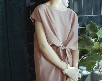 Loose Fit Women Dress. Drapy Oversized Dress. Cap Sleeve. Waist Knot. Alice dress