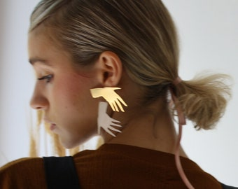 Statement Gold and Sterling Sillver Studs Earrings Jewelry