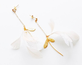 Statement Feather Earrings Maple Fruit Gold Stud Beige and White Natural Feather. Mid-Length White Delicate Dangle Earrings