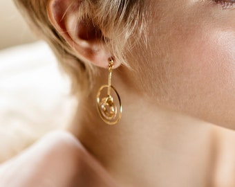 Chunky Hoop Earrings With Charm Oversized Earrings Gold Statement Hoops Golden Shadow Swarovski geometric Earrings Large Open Circle earring
