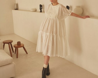 White Dress. Sheer White Dress. Wedding Dress. Embroidered Ruffle Maxi Dress. Edgy Wedding. Romantic Dress. Art Dress. Micro Wedding Dress.