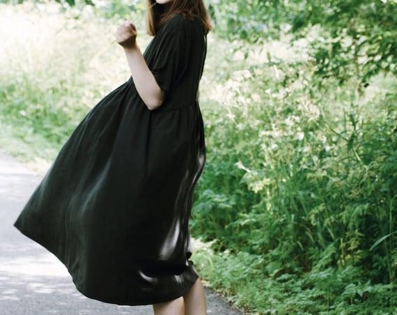 Black Dress Maternity Dress Eco Friendly Sustainable Plus Size Clothing Bridesmaid Dress Smock Dress Long Midi Dress Black Dress Long Sleeve