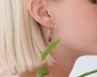 Heart Earrings Drop Statement Geometric Art Deco Swarovski Earrings Delicate Lightweight Statement Jewelry Trending Now