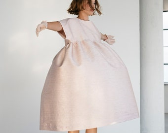 Pink Clothing Bridesmaid Dress Smock Dress Long Midi Dress Long Sleeve