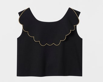 Embroidered Pinafore Top. Black Structured Modern Jumper. Metallic Gold Embroidery Dress. Gold Foil Scalloped