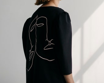 Embroidered Black Top. Black Structured Modern Blouse. Pink Embroidery Dress
