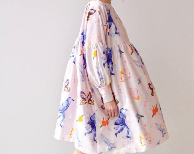 Featured listing image: Printed Dress Eco Friendly Sustainable Art Illustration Unique Plus Size Clothing Bridesmaid Dress Smock Dress Dress Long Sleeve