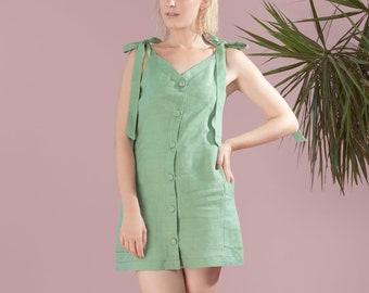 Linen Dress Pockets Shift Dresses for Women Green Linen Dress Handmade 70s Dress Festival Summer Linen Tie strap dress . VirginiePE18