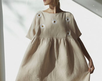 Dress Eco Friendly Sustainable Plus Size Clothing Embroidered Daisies Eggshell Dress Smock Dress Long Midi Dress Off White Dress Long Sleeve