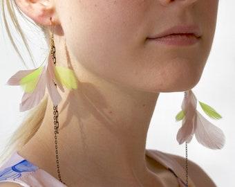Feather Earrings Statement Feather Earrings Real Feathers Linear Asymmetrical Earrings Long Chain Earrings Chartreuse Green Dangle Jewelry