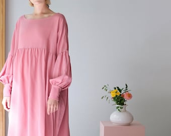 Eco Friendly Sustainable Dress Balloon Sleeve Dress Unique Plus Size Clothing Bridesmaid Dress Smock Dress Dress Long Sleeve