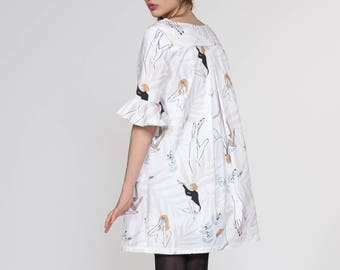 SALE Dance Girls Women's Printed Dress. Flared Sleeve A-Line Dress. Holiday, Cocktail, Day Dress. Fall Fashion. Nina FW17