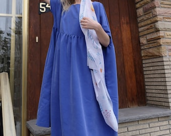 Market Dress Eco Friendly Sustainable Plus Size Clothing Bridesmaid Dress Smock Dress Long Midi Dress Long Sleeves Cobalt Blue