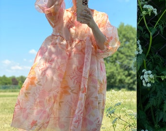 Floral Printed Dress Eco Friendly Sustainable Art Illustration Unique One Size Clothing Bridesmaid Dress Smock Dress Dress Long Sleeves