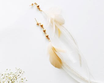 NEW Feather Earrings. Gold Ball Stud Beige and White Natural Xlong Feather. Long White Delicate Dangle Earrings. Spring Fashion SS17