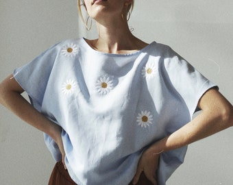Linen Eco Friendly Embroidered Daisies Daisy Pale Blue Loose Fit Women Shirt Oversized Shirt Cap Sleeve Self Clothing Embroidered