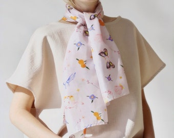 Silk Fairy Scarf. Fruits and Flowers Spring Fashion. Art Illustration Girls Scarf Butterly Women Illustration Art Illustration Silk Scarf