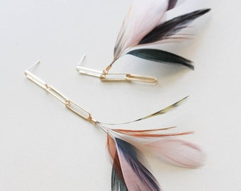 Mismatched Feather Earrings Asymmetrical Earrings Unusual Lilac Earrings Gold jewelry Extra Long Chain Linear Drop Earrings Gold Earrings