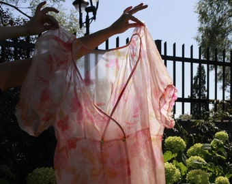 Wrap Dress Art Illustration Unique One Size Clothing Puff Sleeves Exaggerated Sheer Dress Silk Organza Watercolor balloon sleeve PRE ORDER