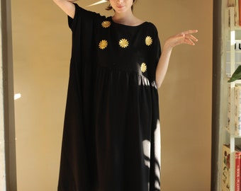 Dress Eco Friendly Sustainable Plus Size Clothing Embroidered Daisies Gold Daisies Dress Smock Dress Long Midi Dress Black Dress Long Sleeve