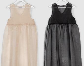 Pre order Pinafore Dress Jumper Silk Modern Minimal Sleeveless Summer Dress Sheer Summer Silk Maxi Dress Loose dress Blush Wedding Dress