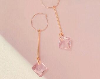 Dainty Hoop Earrings Thin Gold Filled Hoops Circle Earrings Rose Swarovski Crystal Small Hoop Earrings Jewelry Minimalist Open Circle
