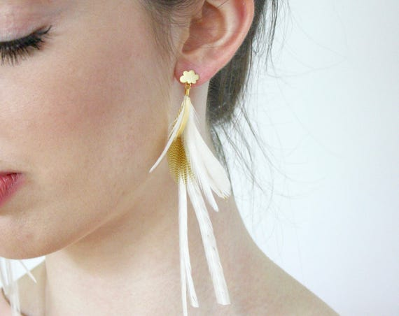 Feather Earrings. Gold Cloud Stud with Natural Feathers. Long White Striped Beige and Brown Dangle Feather Earring. Spring Fashion SS17
