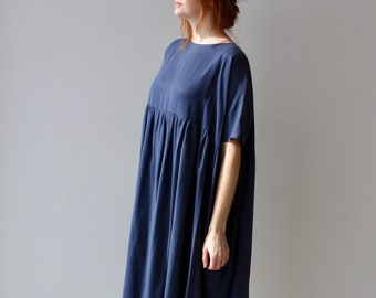 Blue Dress Dress Eco Friendly Sustainable Plus Size Clothing Bridesmaid Dress Smock Dress Long Midi Dress Black Dress Long Sleeve