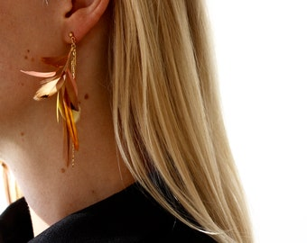 Gold and Pink Feather Earrings. Gold Delicate Earrings. Gold Dangle Feather Earrings. Feather Jewelry. Coral and Brown Feather Earrings