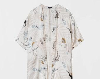 Silk Dress Kimono. Japanese Inspirer Women's Kimono. Holiday, Cocktail Bridesmaid Robe. Fall Fashion. Olivia FW17