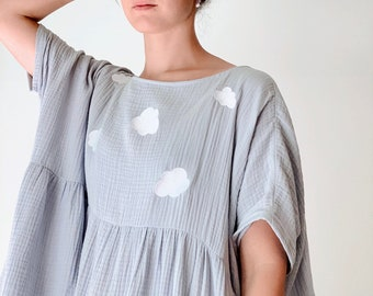 Cloud Dress Eco Friendly Sustainable Plus Size Clothing Embroidered Clouds Blue Clouds Dress Smock Dress Long Midi Dress Pastel Market Dress