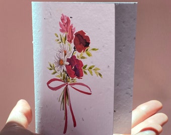 Plantable Greeting Card Seeded Paper Card Wildflowers Seeds Birthday, Get Well, Thank You Card Grow A Note Handmade Eco friendly Stationery